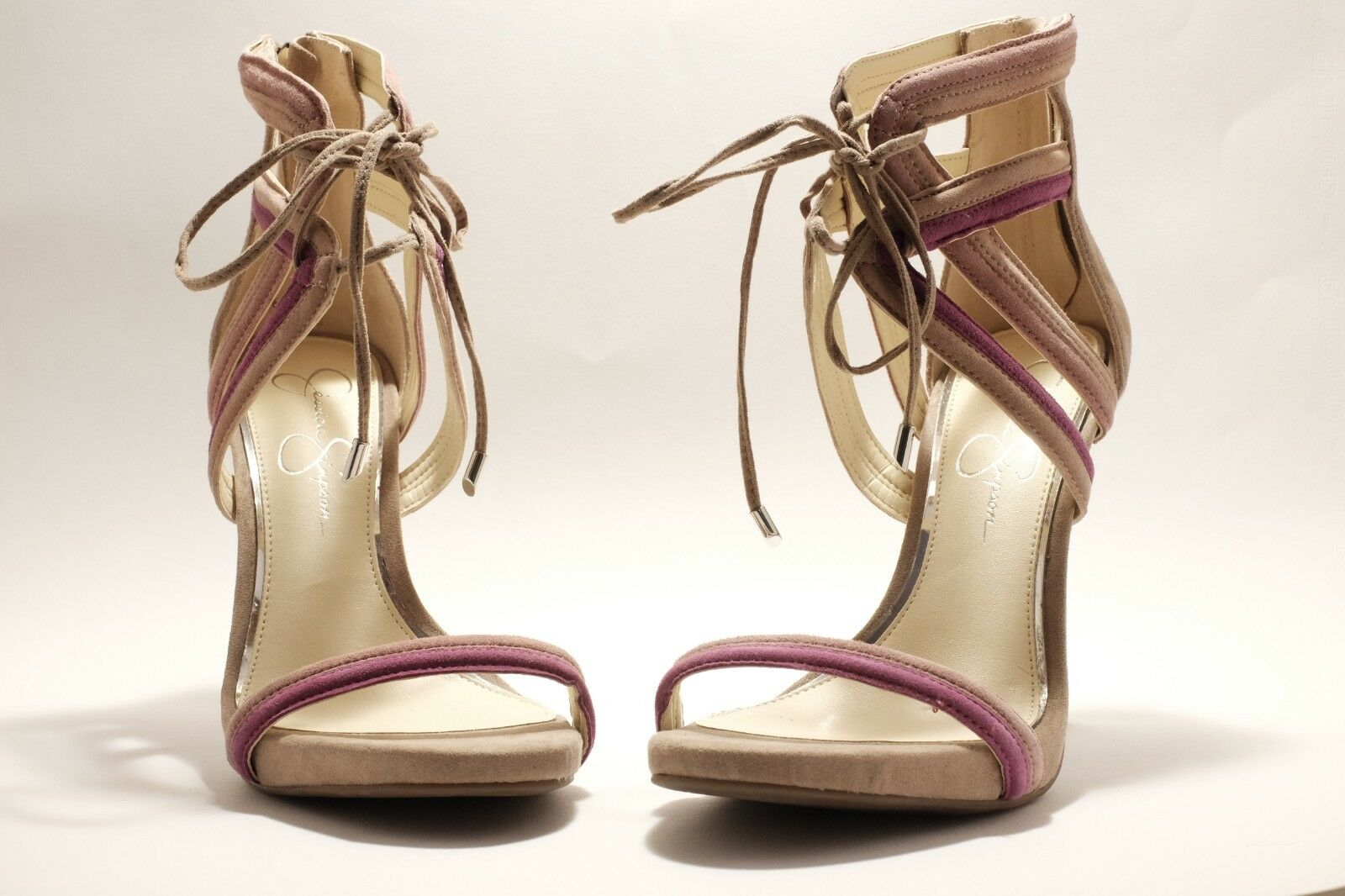 Jessica Simpson Nude Purple Ankle Strap Heels Size 9