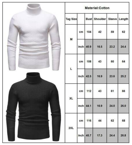 Mens Winter Warm Knitted Sweater Roll Turtle Neck Pullover Jumper Casual Tops