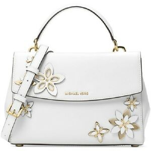 353a0da8be New Michael Kors Flowers Ava Small Leather Satchel white floral bag ...
