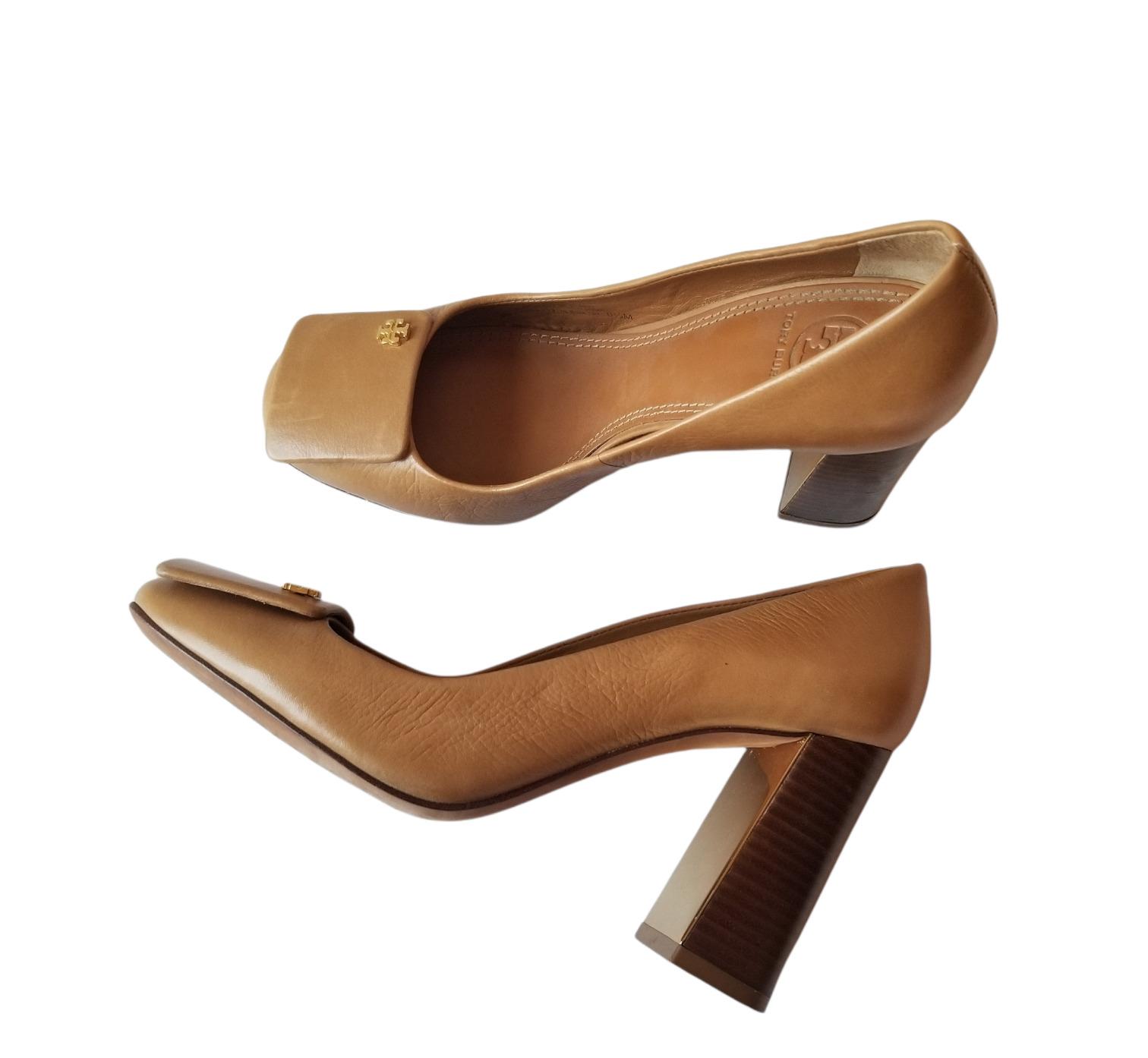 Tory Burch Camel Tan Block Heels Leather Pumps Cl… - image 1