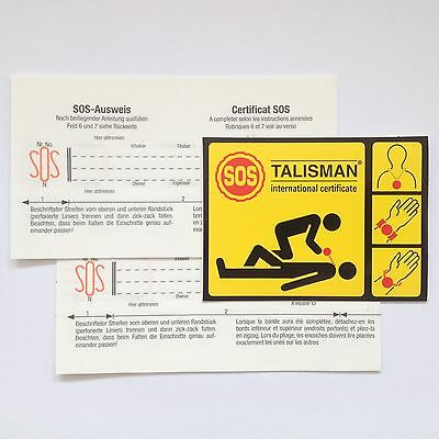 SOS Talisman accessory: 2  replacement information strips and sticker, FREE SHIP