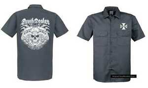 Maglietta-Worker-grigio-Motociclista-Vintage-HD-Fantasia-Chopper-amp-Oldschool