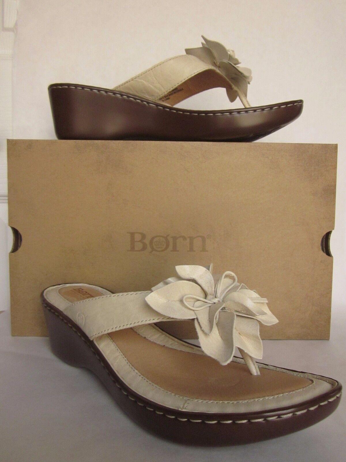 Born Shimmy Off White Wedge Flower Sandal - size 11