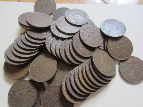 . Roll of 1932 Canada Small Cents 50 Coins