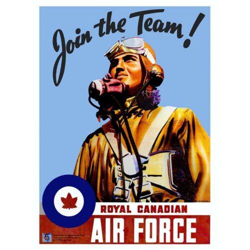 Propaganda War Wwii Canada Enlist Air Force Pilot Art Print Framed Poster 12X16