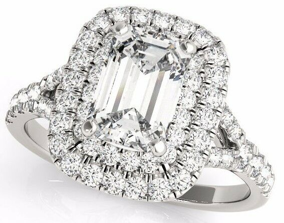 1.10 Ct Emerald Cut Double Halo Engagement Wedding Ring In Solid 14k White gold
