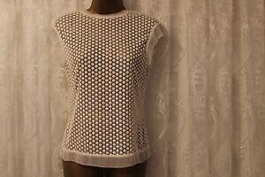 c4d695a6 Karen Millen Ivory Broderie Lace Sheer Panel Mesh Top T Shirt Blouse ...