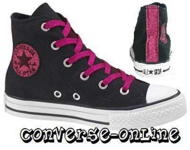 b8f52ec96f1c KIDS Girls CONVERSE All Star BLACK PINK GLITTER HI TOP Trainers Boots SIZE  UK 10