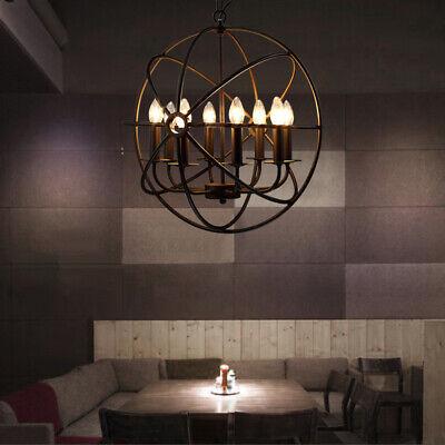 Metal Orb Chandelier Lamp Globe Cage Ceiling Pendant Light Round Hanging Fixture Ebay