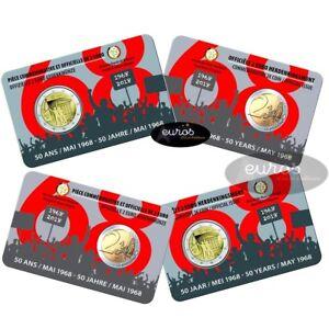 Coincard-2-euros-commemorative-BELGIQUE-2018-50eme-anniversaire-mai-1968-UNC