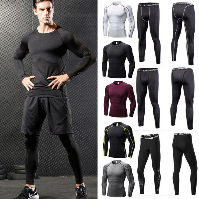 Men Fitness Compression T-Shirt Tops Long Pants Base Layer Sports Tights Gym US