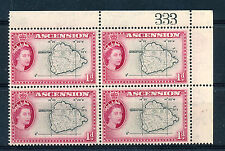 ASCENSION 1956 DEFINITIVES SG58 1d BLOCK OF 4 WITH SHEET NUMBER MNH