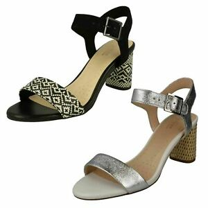 Details about Ladies Clarks Amali Weave Smart Black Or Silver Block Heel Sandals