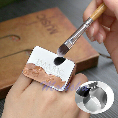 1 HOT Nail Art Makeup Cosmetic Stainless Steel Paint Mixing Palette Ring Tool M*