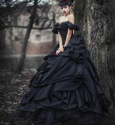 Gothic Black Tiered Satin Wedding Dresses Vintage Off Shoulder Bridal Ball Gowns