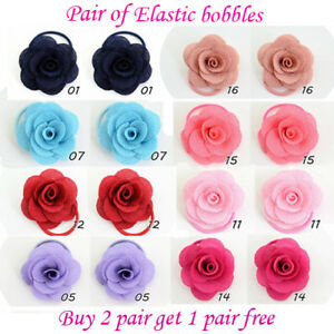 Girls-Rose-Flower-cute-elastic-bobbles-Bow-School-Baby-lot-Hair-kids-Pair