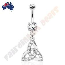 316L Surgical Steel Pink Gem Belly Ring With Flying Lady Beetle Bug Dangle