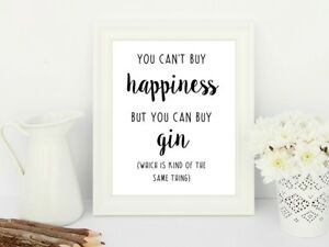 Happiness-Gin-Print-Poster-Alcohol-Funny-Love-Unframed-Home-Kitchen-Quote-Gift
