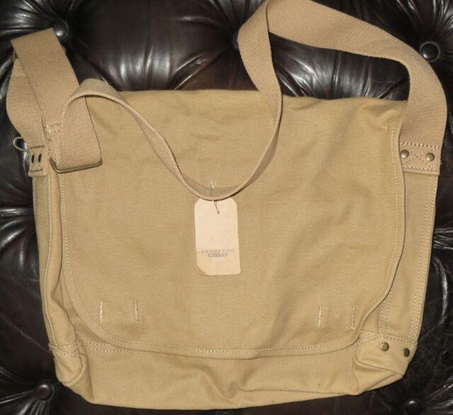 Lands End Khaki Soft Cotton Canvas Military Travel School Messenger Bag