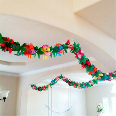 Party Decor 3m Garland Banner Summer Beach Luau Hawaiian Tropical Paper Flower Ebay