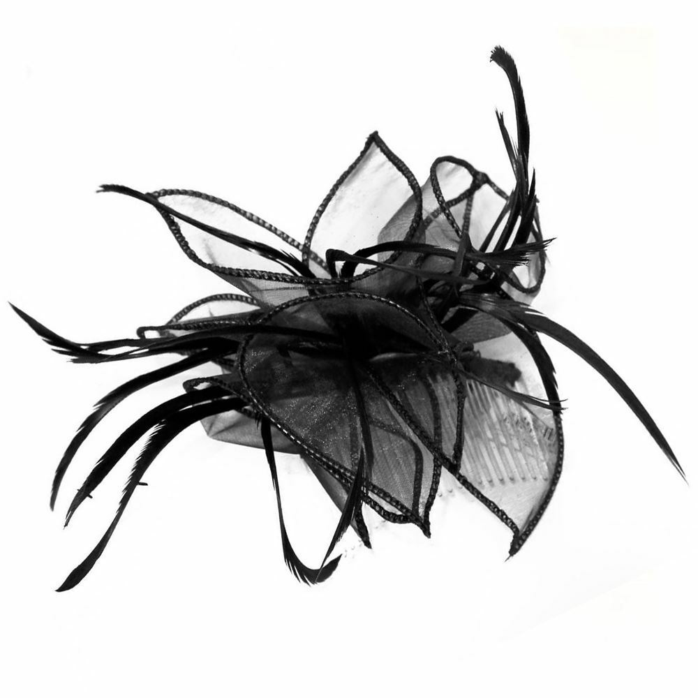 NEW RED SINGLE COMB NET TULLE BOW  FEATHER FASCINATOR R-SSC