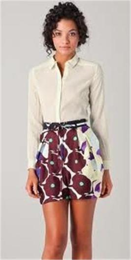 DVF Diane Von Furstenberg DONOVAN Silk Tie Waist Shorts Pants Pop Meadow Brown 4