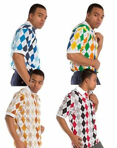Vibes-Men-039-s-Multi-color-Argyle-Printed-Pique-Polo-Shirts-Relax-Fit-Short-Sleeve