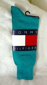 TOMMY-HILFIGER-Aqua-Blue-Cotton-Blend-Dress-Socks-Mens-Size-10-13-NEW-NWT