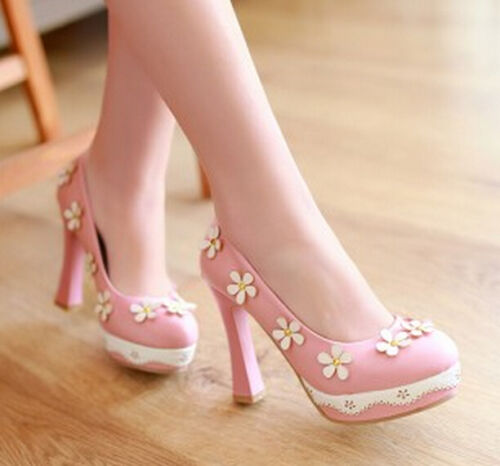 Sweet Girls Women/'s Princess Flower Pumps Block High Heels Round Toe Shoes Party