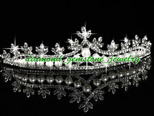 154.50cts-ROSE-CUT-DIAMOND-PEARL-ANTIQUE-WEDDING-SILVER-HAIR-JEWELRY-TIARA-CROWN