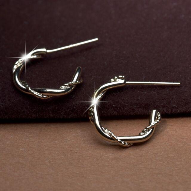 18k yellow gold 925 silver open hoop stud earrings twist rope pattern hoops 15mm