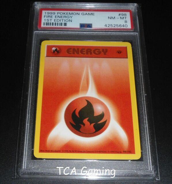 PSA 8 NM-MINT Fire Energy 98/102 1ST EDITION Base Set Pokemon Card