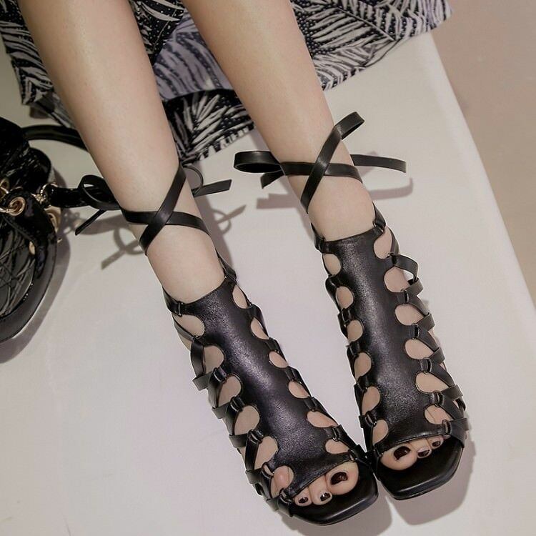 Donna High Block Heels Ankle Strappy Toe Cross Strap Hollow Sandals Size 6