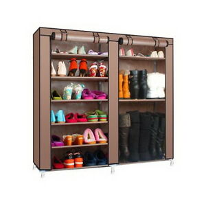 Details About Portable 6 Layer 9 Grid Home Shoe Rack Shelf Storage Closet  Organizer Coffee