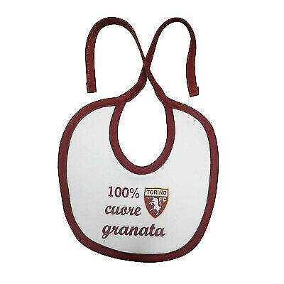 TORINO FC bavaglino bavetta in cotone bianco 100/% cuore granata bordato granata