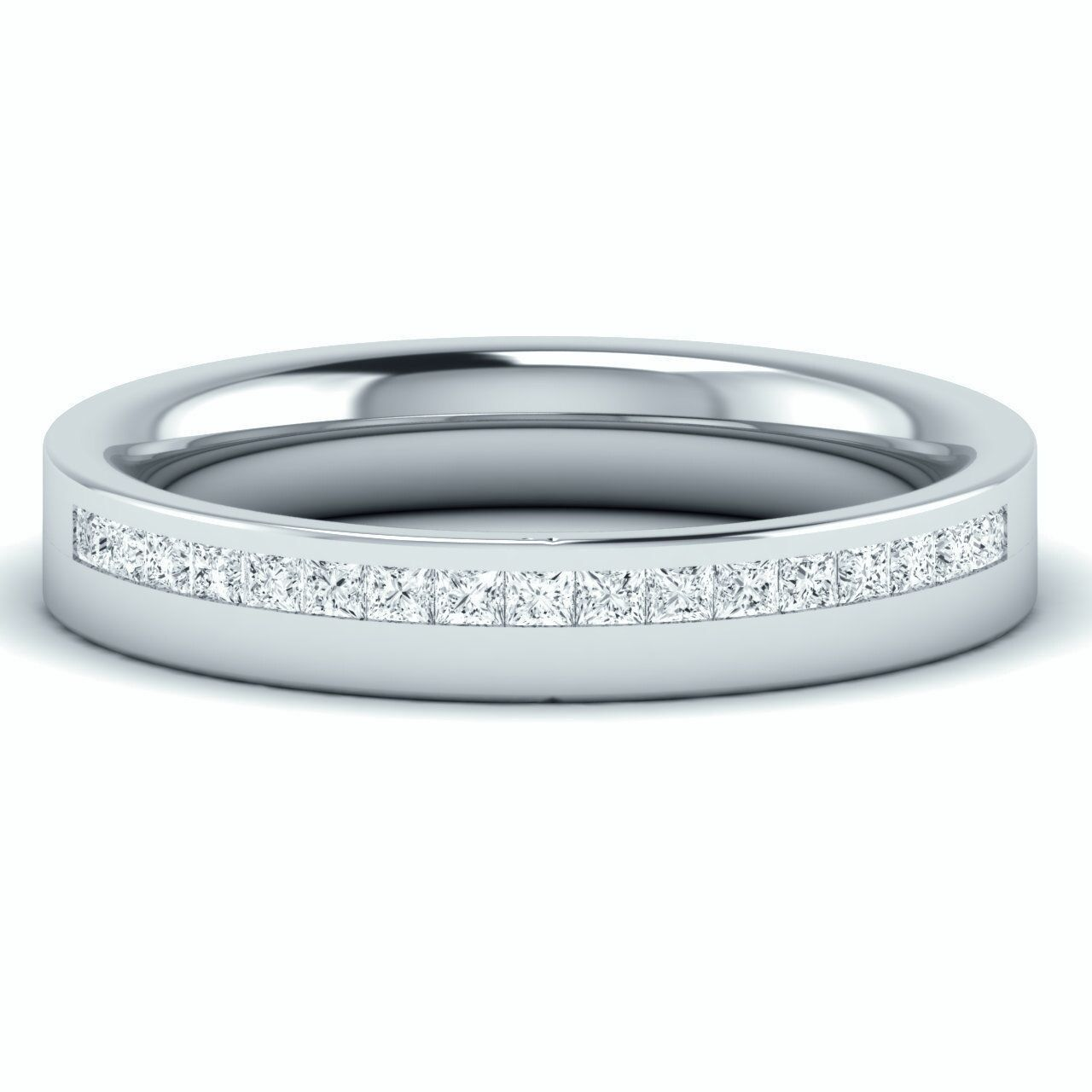 F VS1 0.30 Carat Princess Diamonds Half Eternity Wedding Ring in 18k White gold