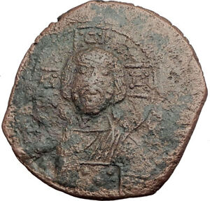 JESUS-CHRIST-Class-A2-Anonymous-Ancient-1025AD-Byzantine-Follis-Coin-i63592