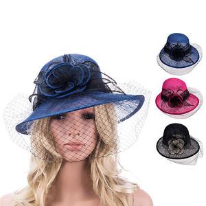 ab5da8fc36c Retro Womens Sinamay Floral Veil Netting Cloche Church Hat T148