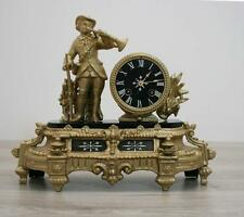 ANTIQUE 1850 FRENCH  CLOCK  Japy Freres renovated Gilt spelter black marble