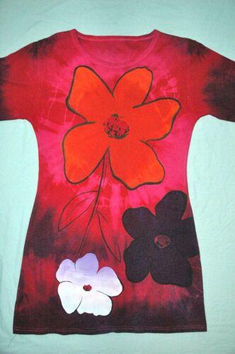 FIORE POP ART T Shirt Abito a Tie Dye Scollo Profondo Manica Lunga