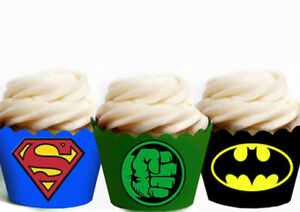 Image Is Loading Superhero Hulk Batman Birthday Party Wraps Cupcake Cases