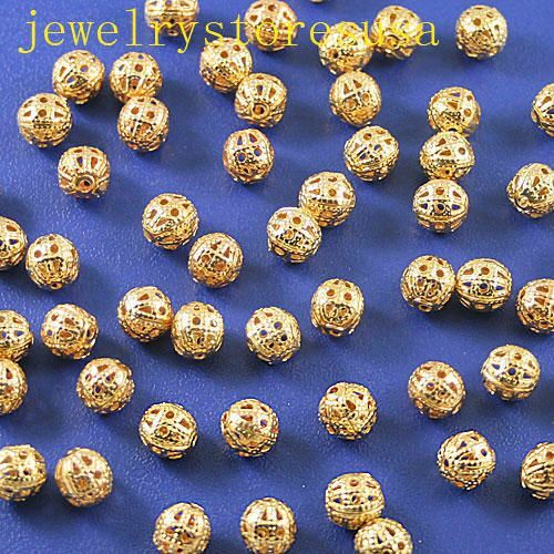 100pcs 6mm Gold tone craft spacers beads h0610