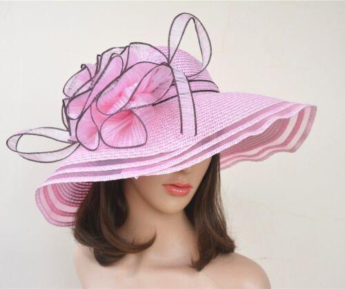 Women Wedding Royal Ascot Ladies' Day Wide Brim Straw Summer Beach Sun Hat A115