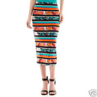 Bisou Bisou Striped Floral Print Pencil Skirt Size Xs With Tags
