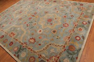 Old-Hand-Made-Blue-Floral-Style-Traditional-Parsian-Oriental-Wool-Area-Rug