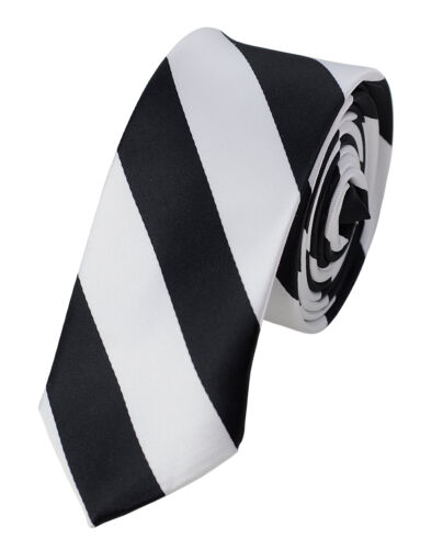 "Manzini Neckwear® Men/'s 2/"" Skinny College Stripe Woven Tie Brand NEW"