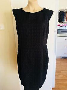 Ladies-Black-PORTMANS-Dress-Size-16-Work-Semi-Formal-Fitted-LBD-Houndstooth