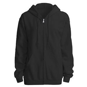 3ae725aea Image is loading Hooded-Plain-Sweatshirt-Men-Women-Full-Zipper-Hoodie-