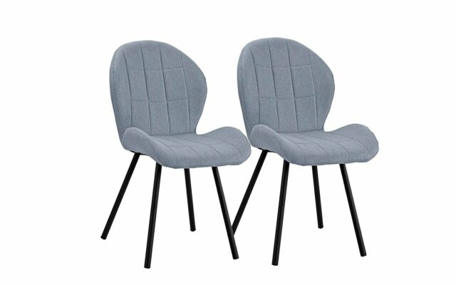 Outstanding 2 Pc Dining Chairs Fabric Accent Side Chair For Kitchen Set Of 2 Light Blue 2Pcs Caraccident5 Cool Chair Designs And Ideas Caraccident5Info