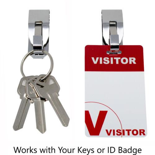 """5 Pcs Secure Belt Clip Key Holder w Metal Hook /& Heavy Duty 1 1//4/"""" Keychain Ring"""